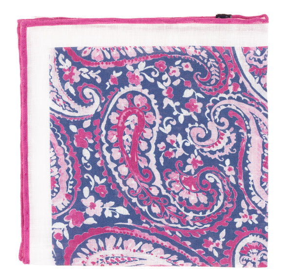 Raspberry Paisley Pocket Square
