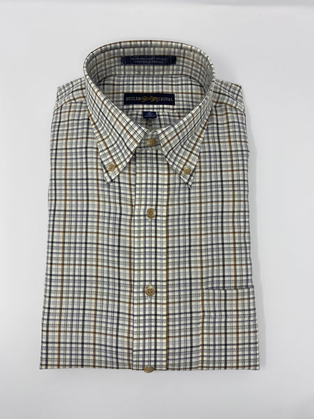 Tan, Grey and Cream Check Button Down Shirt