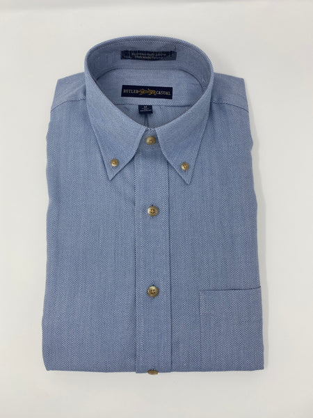 Blue Herringbone Button Down Shirt
