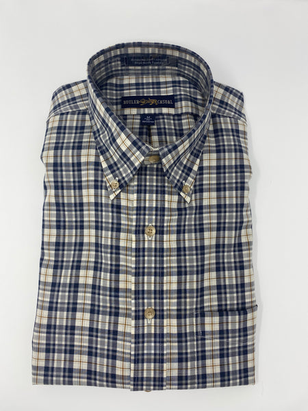 Navy, Grey and Tan Plaid Button Down Shirt