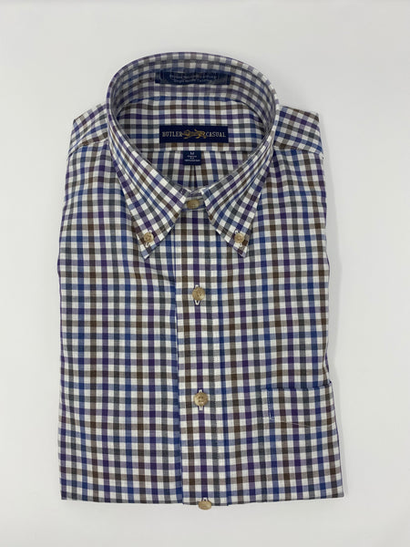 Blue, Olive, Tan and Berry Check Button Down Shirt