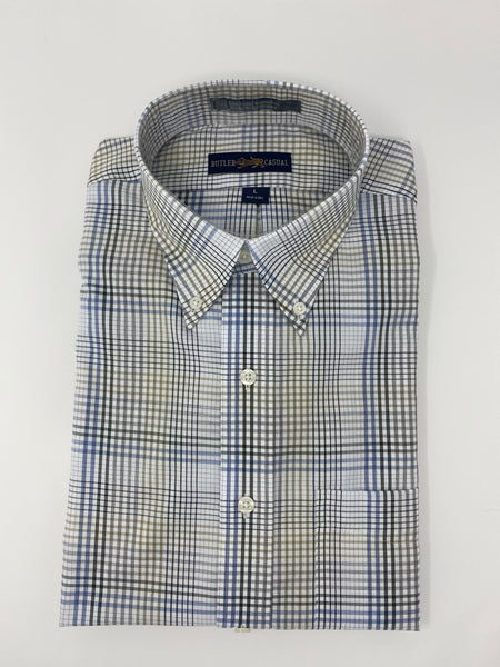 Blue, Green and Grey Plaid Button Down Shirt