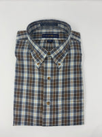 Grey, Brown and Blue Plaid Button Down Shirt