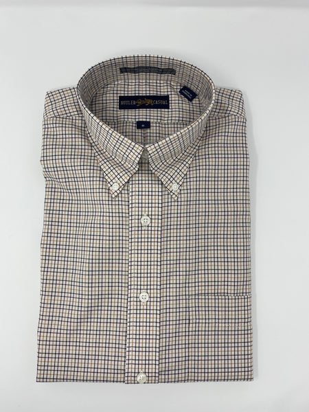 Tan, Black and Burgundy Check Button Down Shirt