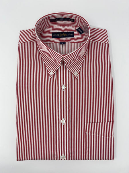 Red and White Stripe Button Down Shirt