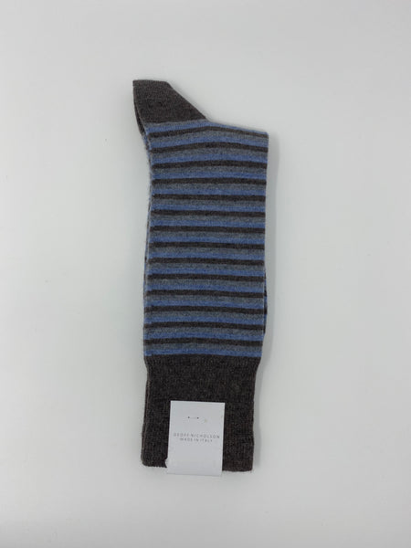 Brown, Gray and Light Blue Stripe Socks