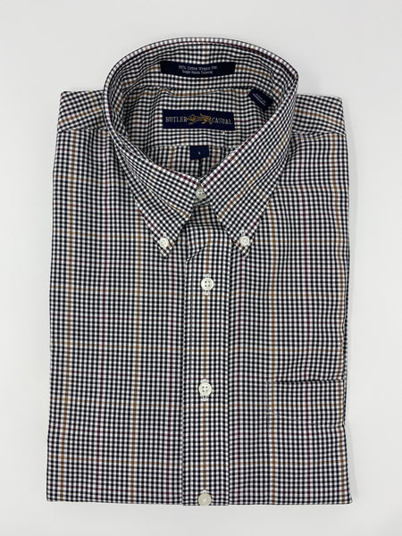 Black and White Check with Windowpane Button Down Shirt