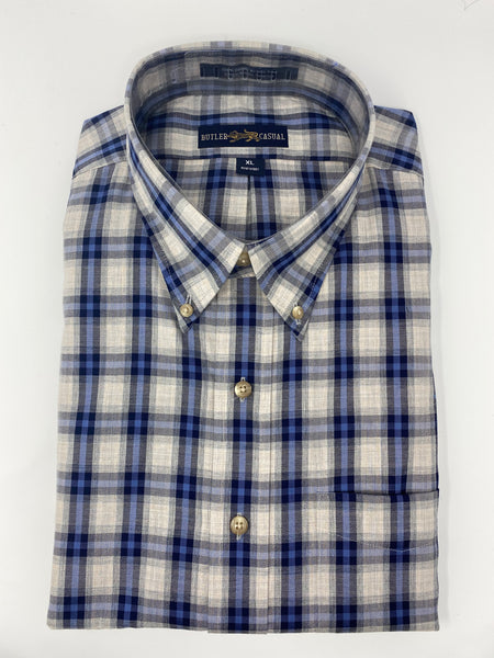 Blue and Grey Plaid Button Down Shirt