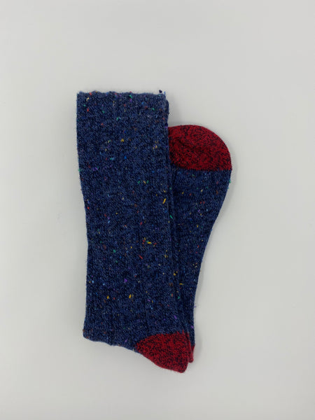 Navy Tweed Donegal Socks