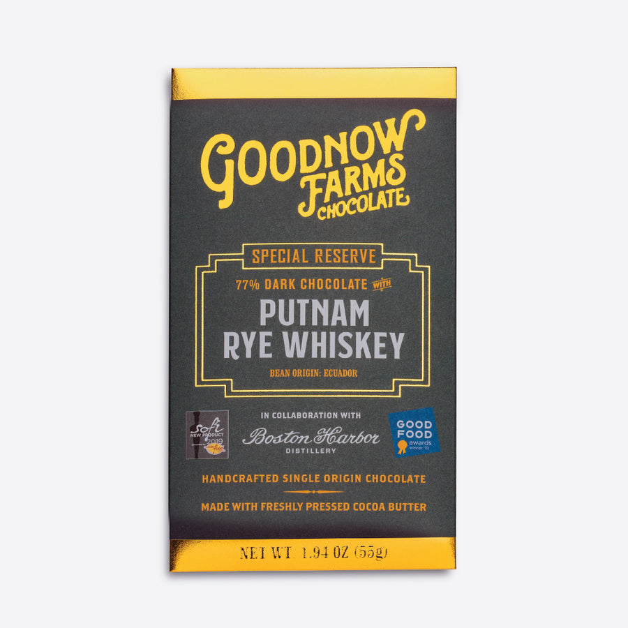 Goodnow Farms Putnam Rye Whiskey Chocolate Bar