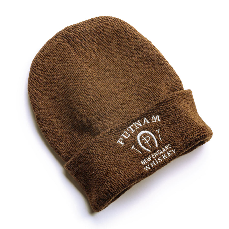 Putnam Whiskey Embroidered Brown Beanie
