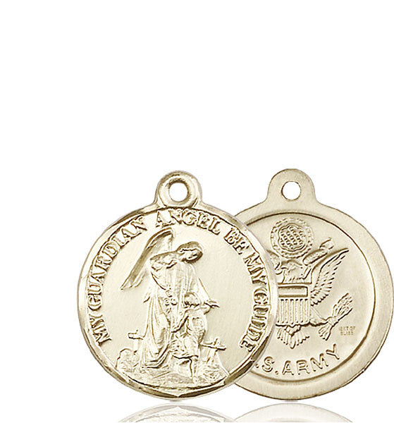 14kt Gold Guardain Angel / Army Medal