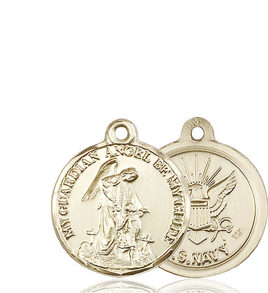14kt Gold Guardain Angel / Navy Medal