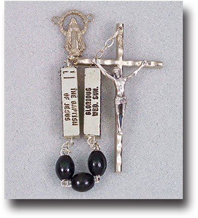 Black Rosary With Mystery Pater