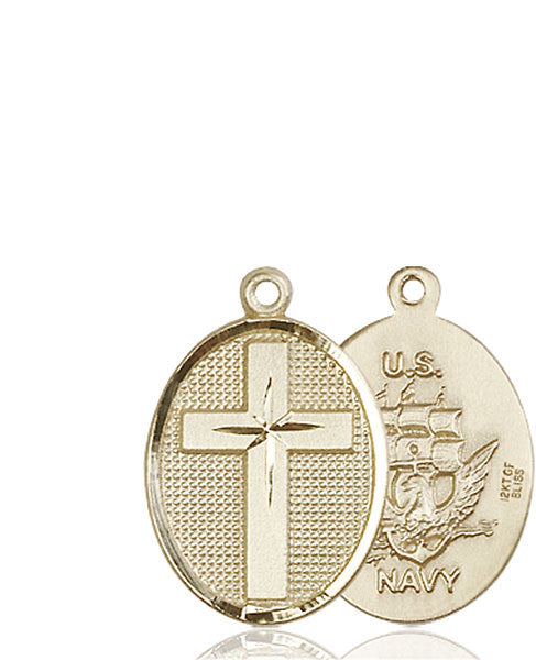 14kt Gold Cross / Navy Medal