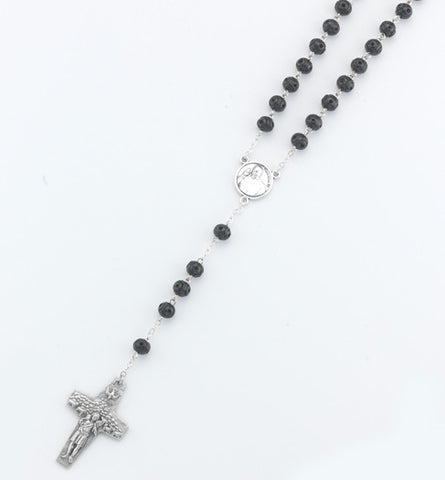 7mm black wood Pope Francis Rosary