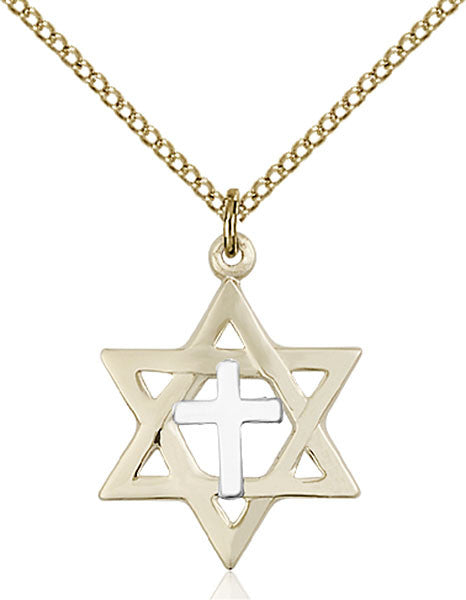 Two-Tone SS/GF Star of David Pendant