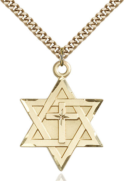 Gold Filled Star of David W/ Cross Pendant
