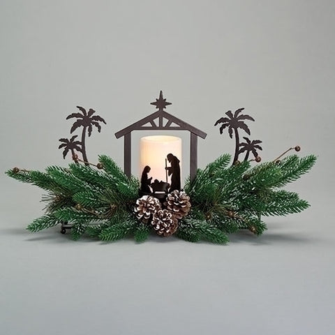 Holy Family LED Candle with Evergreen Branches