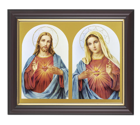 Sacred Hearts in Walnut Frame