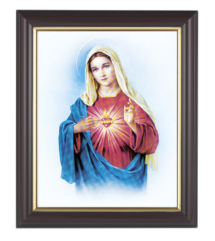Immaculate Heart of Mary in Walnut Frame