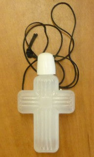 Holy water bottle cross w/cord