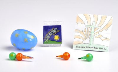Decorative Plastic Egg, Mini-Stacking Crayons and Coloring Sheet