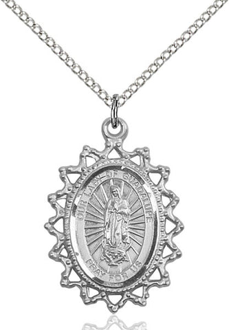 Sterling Silver O/L of Guadalupe Pendant