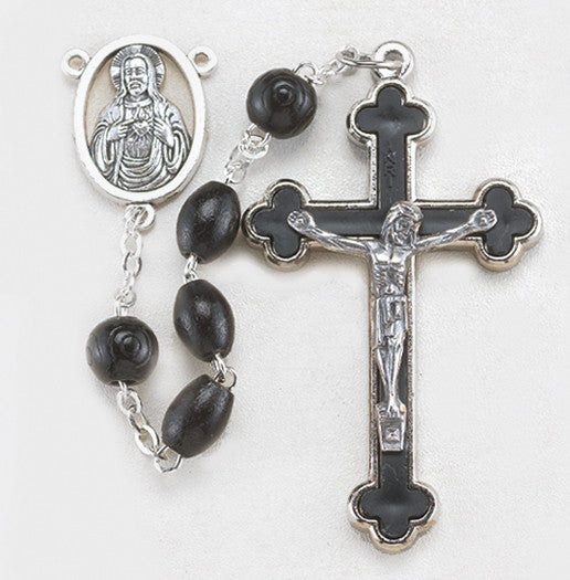 10mm Oval Black Wood Bead Rosary