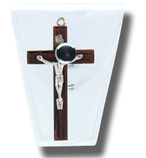 "1"" Wood Crucifix in a clear plastic snap case Religious Articles Hirten - St. Cloud Book Shop"