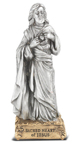 Sacred Heart Of Jesus Pewter Statue On Base 4 1/2""