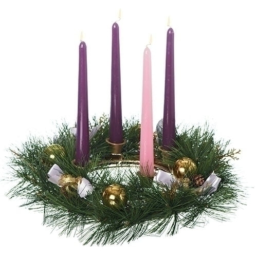 Advent Wreath with Purple Ribbon [candles not included]
