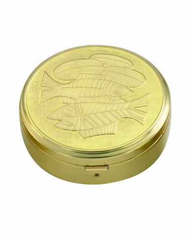 Pyx: Gold bread and fish design