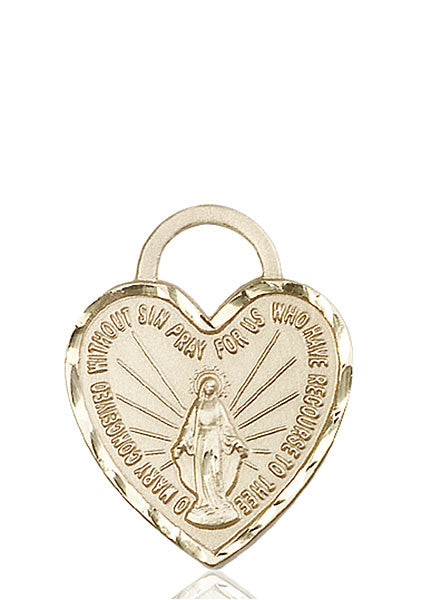 14kt Gold Miraculous Heart Medal