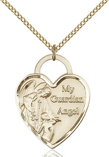 Gold Filled Guardian Angel Heart Pendant
