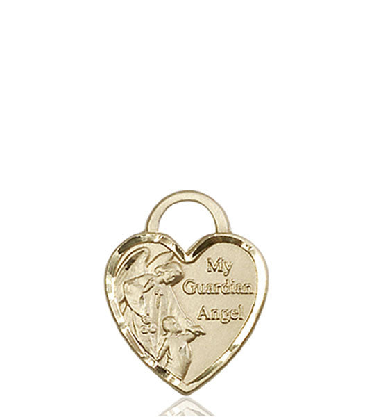 14kt Gold Guardian Angel Heart Medal