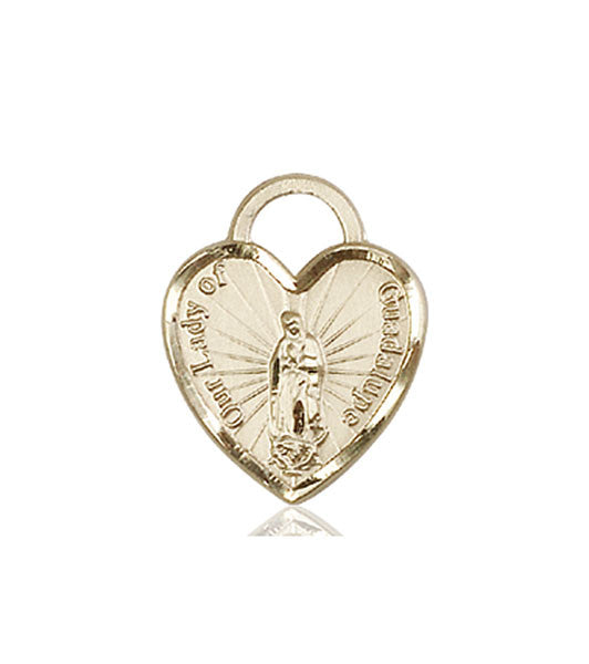 14kt Gold O/L of Guadalupe Heart Medal