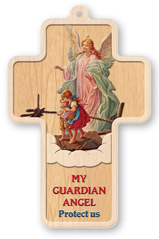 Laser Wood Cross Guardian Angel