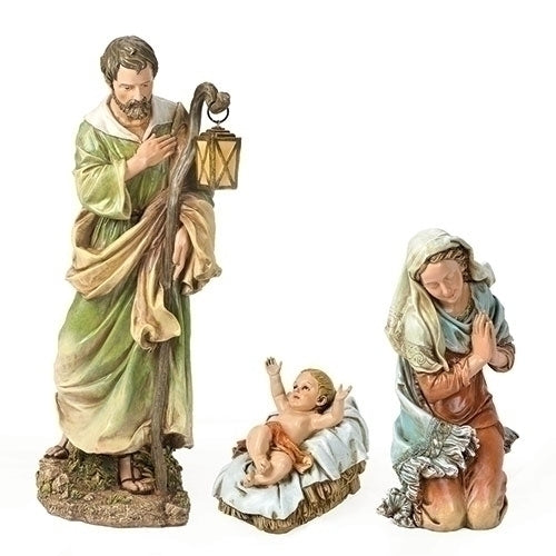 "Nativity, Holy Family Figures, 3 Piece Set, Colored, Indoor/Outdoor [27"" Scale]"