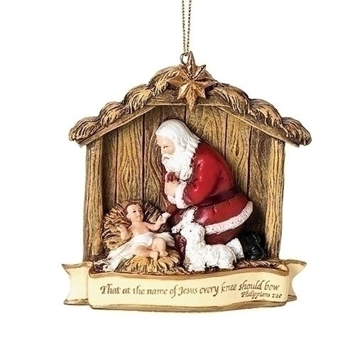 Kneeling Santa Scene Ornament 3.5""