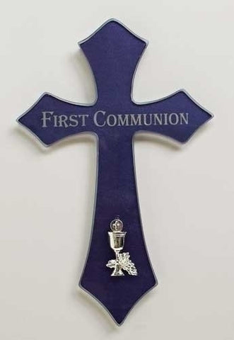 First Communion Blue Glass Cross