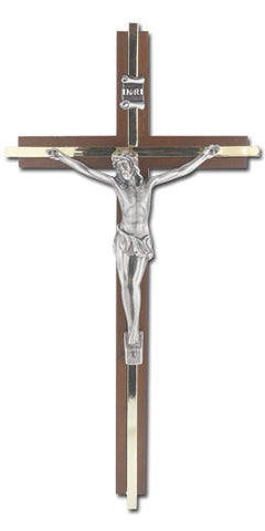 "10"" Walnut Crucifix Religious Articles Hirten - St. Cloud Book Shop"