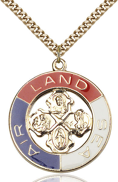 Two-Tone SS/GP Land, Sea, Air Pendant