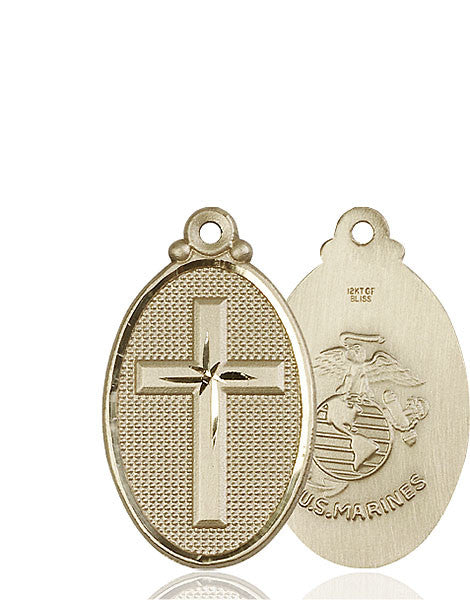 14kt Gold Cross / Marines Medal