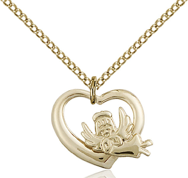 Gold Filled Heart / Guardian Angel Pendant