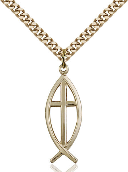 Gold Filled Fish / Cross Pendant