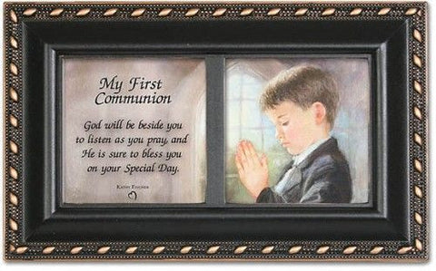 First Communion Black Music Keepsake Box - Boy