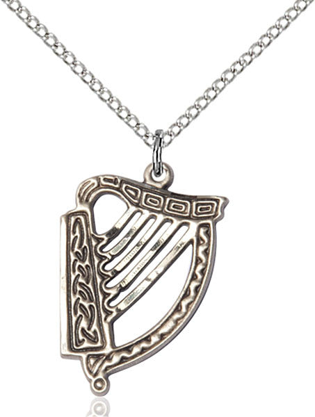 Sterling Silver Irish Harp Pendant