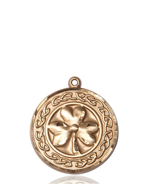 14kt Gold SHAMROCK W/ CELTIC BORDER Medal