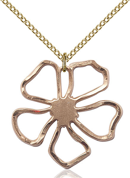 Gold Filled Five Pedal Flower Pendant